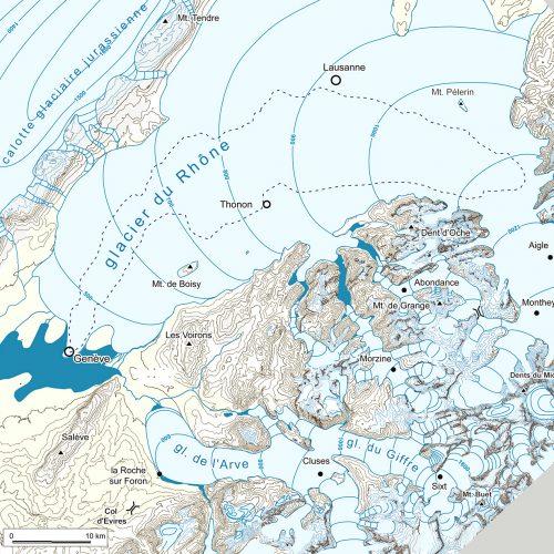 1 b Paléogéographie des glaciers du Rhône, de l'Arve et du Giffre au stade des Lacs