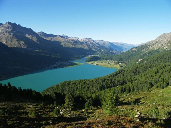 Le lac de Silvaplana ; les lacs de la Haute Engadine occupent des cuvettes surcreusées par l'ancien glacier de l'Inn de la dernière période glaciaire ©F Amelot