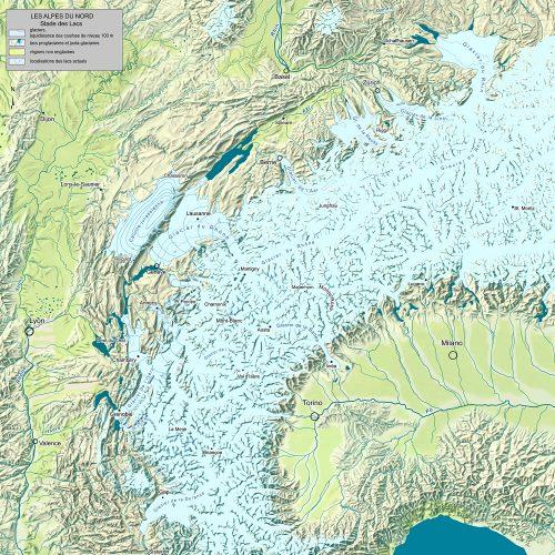 Paléogéographie des Alpes du nord au stade des Lacs
