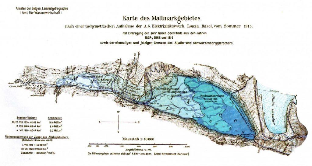 Cartes des extensions successives du lac de Mattmark
