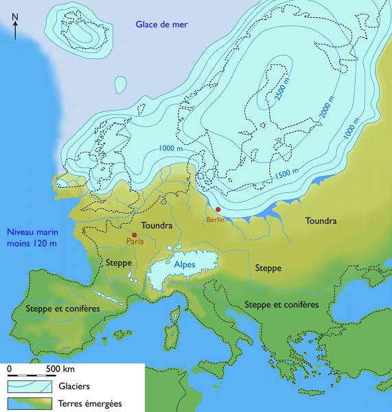 L'inlandsis de la Fenoscandie il y a 22 000 BP, la dépression glacio-eustatique est de 120 - 130 m