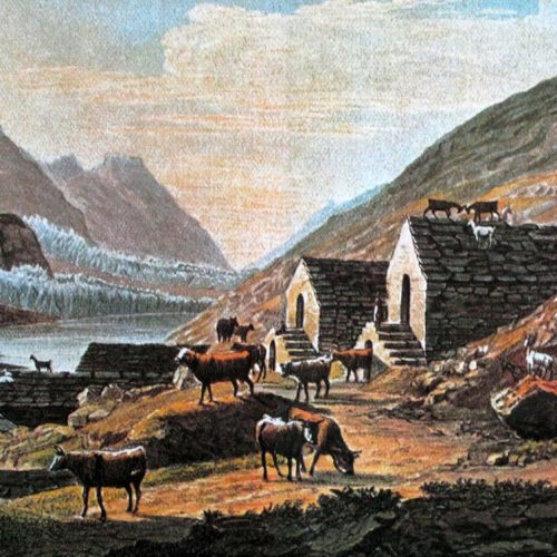 Le lac de Mattmark vers 1830, les chalets de la Distelalp et le Schwarzenberggletscher qui atteint le versant opposé de la vallée.