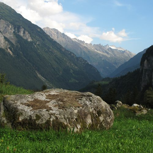 Bloc de granite de l'Aar en rive gauche du verrou du Kirchet