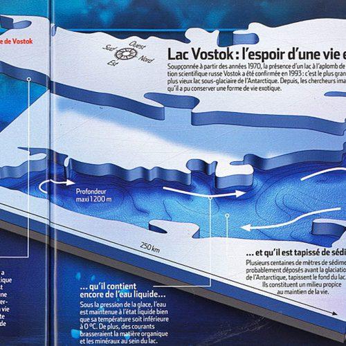 Lac Vostok, forage réalisé à Vostok et carte situant le lac sur le continent Antarctique. (Nicolle Rager-Fuller / NSF)