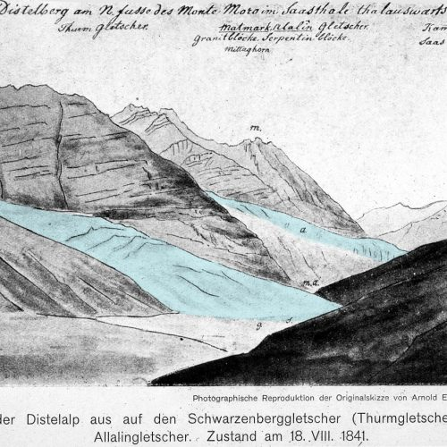 Dessin réalisé par Escher von der Linth, 1841