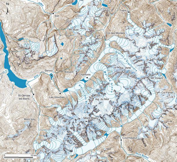Paléogéographie de l'extension des glaciers du massif du Mont-Blanc au Dryas récent.