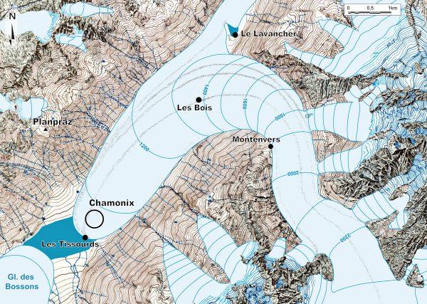 Paléogéographie de le Mer de Glace au Dryas récent.