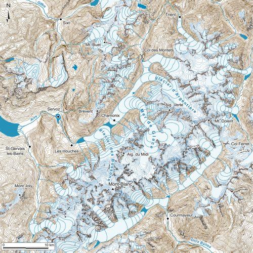 Paléogéographie du massif du Mont-Blanc au Dryas Récent, 12000 BP