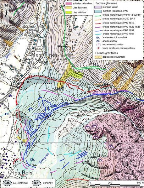Les dépôts glaciaires de la Mer de Glace aux villages des bois et des Tines.