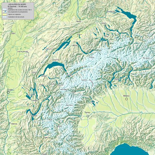 Paléogéographie des Alpes du nord il y a 16 000 ans