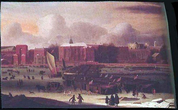 """2 b Peinture du 17e siècle représentant des Londoniens qui assistent à une """"Fête de la glace"""""""