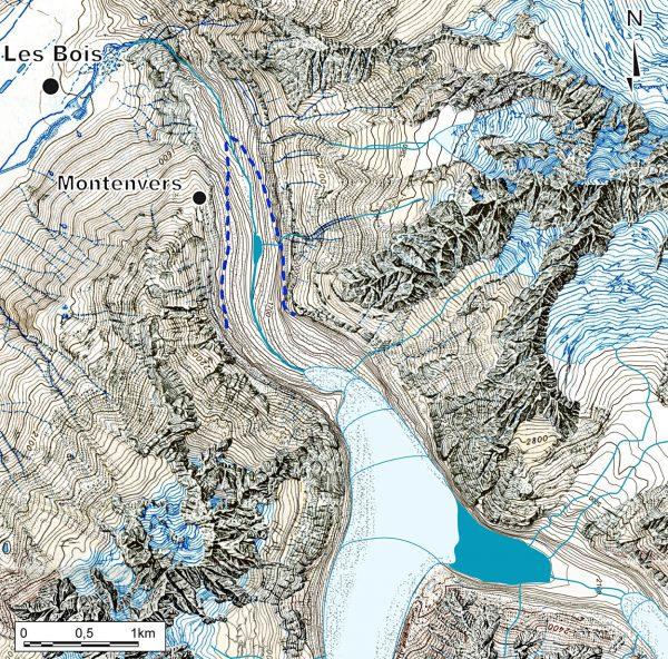 Reconstitution de la langue terminale de la Mer de Glace à l'Âge du Bronze. La langue glaciaire aurait été en retrait de près de 2 km par rapport au front de 2011 (pointillés bleus).