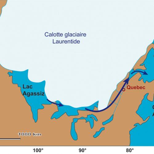 Le lac Agassiz se vidange par la vallée du Saint Laurent