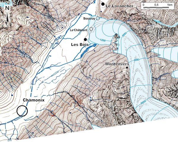 Reconstitution paléogéographique de la Mer de Glace au maximum du PAG (stade de 1643).