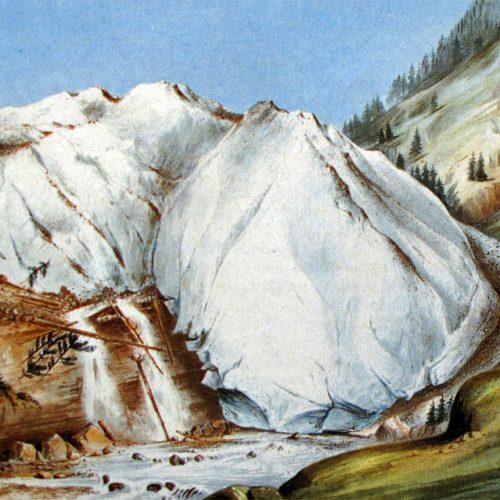 Le glacier en crue, gravure de Hogard 1849