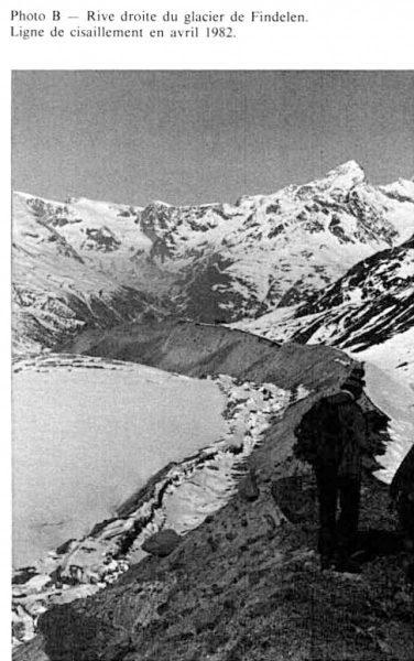 Zone de cisaillement affectant la bordure de la langue glaciaire en 1980.