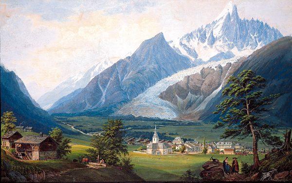Lithographie représentant le glacier des Bois en 1822 par Dubois.