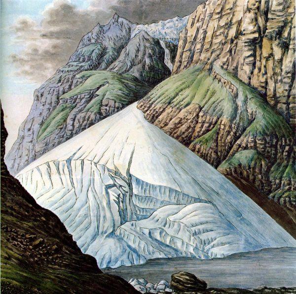Aquarelles de Escher de la Linth, 1818 : lac de Mauvoisin et le cône du glacier du Giétroz dans le val de Bagne en 1818