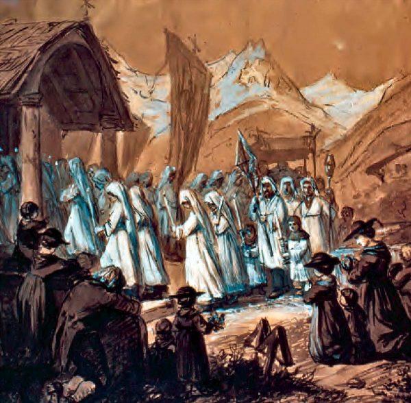Procession au glacier de Fiesch, peinture de Raphaël Ritz (1868)