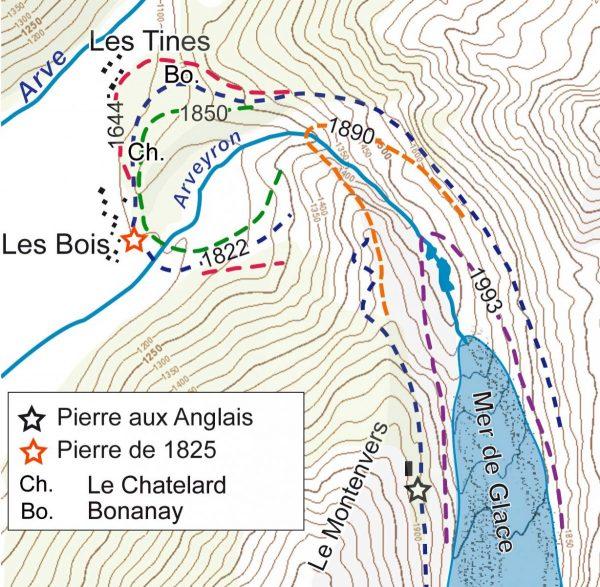 Les extensions de la Mer de Glace entre le maximum du PAG (stade de 1643) et la position actuelle du front, (d'après Mougin et le LGG), localisation des hameaux du Chatelard et de Bonanay.