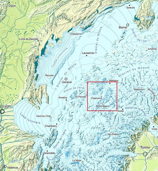 Carte paléogéographique des Alpes nord-occidentales au dernier maximum glaciaire du Pléistocène récent; cadre rouge: région du massif du Mont-Blanc.