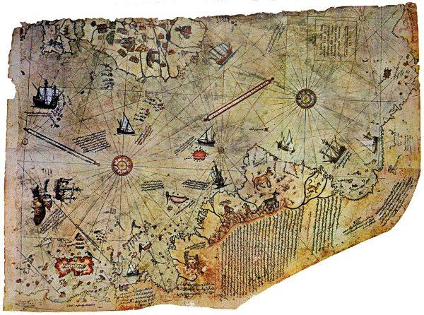 Carte attribuée à l'amiral et cartographe ottoman Piri Reis qui l'aurait tracée en 1513