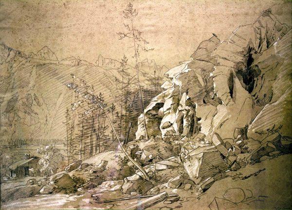 En 1820 le glacier des bois menace à nouveau les maisons du village des Bois