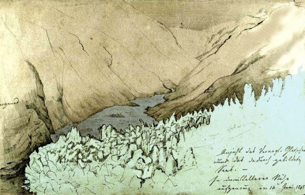Dessin du Vernagtferner et le Rofensee en 1845