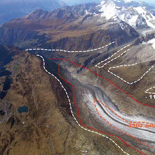 Variations du volume du glacier d'Aletsch depuis 12 000 ans