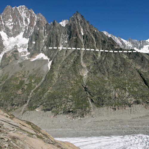 Limite du modelé d'érosion glaciaire en rive droite du glacier (pointillé blanc).