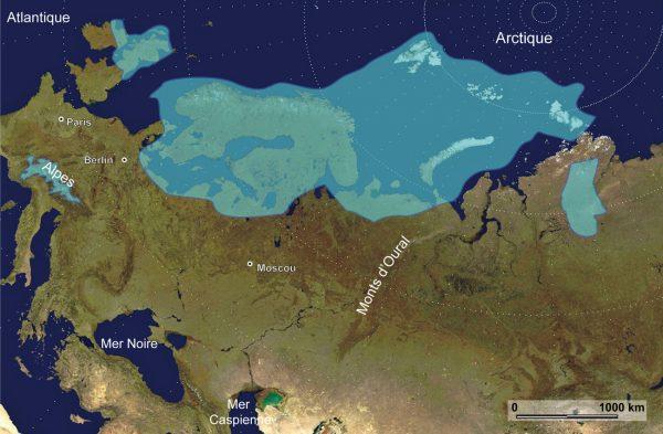 Reconstruction de la calotte Eurasienne il y a 60 000 ans par le programme QUEEN, (Svendsen et al., 2004).