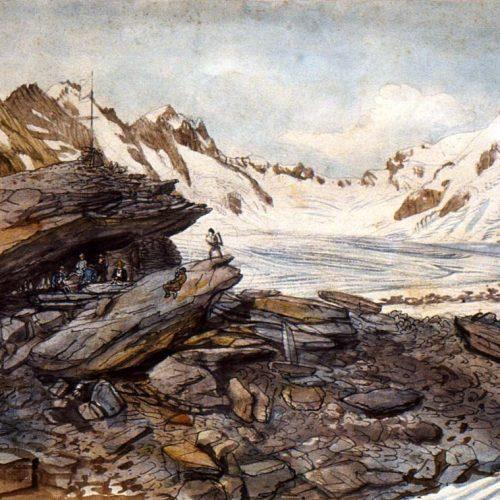 L'hôtel des neuchâtelois, glacier de l'Unteraar vers 1840