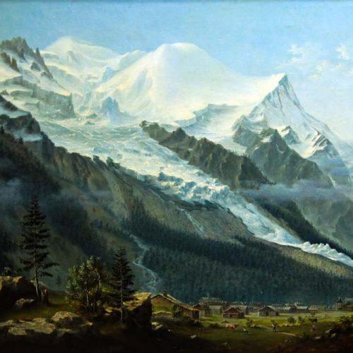 Chamonix vers 1820, peinture à l'huile